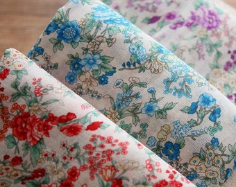 3 yards, BLUE Bouquet Gauze Cotton 144cm WIDE, U2272