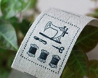 Sewing machine Linen Labels set of 12, U2336