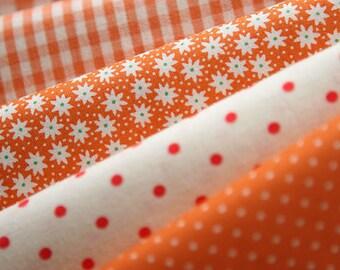 Vivid Orange Floral, dots, and check Cotton fat Quarter Set of 5, U2438