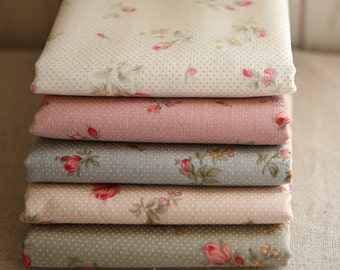 Roses and Dots on Calm Cotton Each a  yard, set of 5, U2453