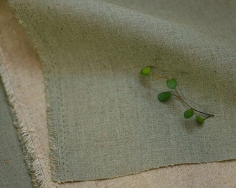 Plain Vintage Colored Light Green n Natural, Reverse Linen blended WIDE 138cm, U2521