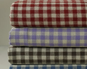 4 colors, each a yard, Yarn dyed Check Linen Blended  WIDE 145cm, U2560