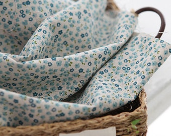 Lovely Petit Floral BLUE Linen blended WIDE 140cm, U2662