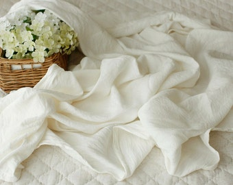A Yard of White Cream Pure Linen SOFT, WIDE 160cm, U2720