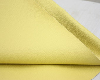 Light Yellow Leather Fabric One cut, U2721