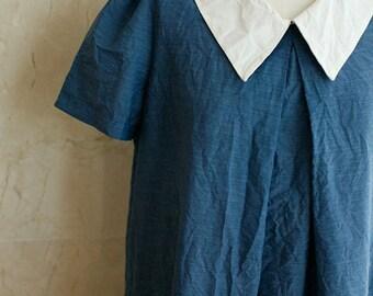 One cut of 160cm, Navy Soft Assa Cotton WIDE 150cm, U2832