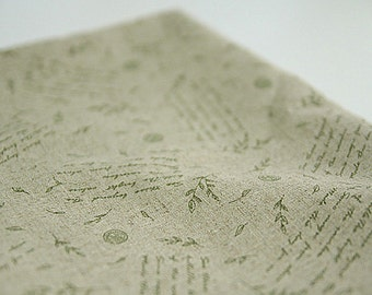 Vintage Style Herb and Letters on Linen WIDE 144cm, U2903