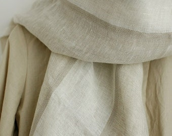 A Yard of PRIME Belgium White and Natural Stripes Pure Linen, U1911