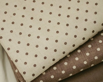 SET, Each half yard of Brown and Natural dots on Linen WIDE 145cm, U2926