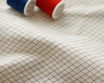 Blue and Red Grid on Linen blended, U3008