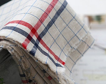 Red and Navy check on Linen blended, U3023