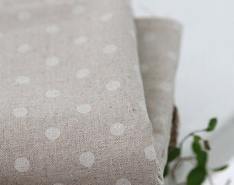 SALE, A Yard of Linen White DOTs WIDE 145cm, U3059