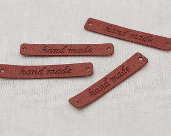 3 sets, Brown Leather Style Label S for handmader, 4 pcs, A set, U3101