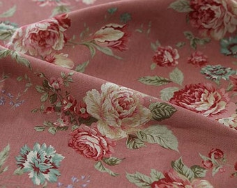 SALE, 3 Yards of Big Roses on Pink Linen blended Wide 140cm, U3140