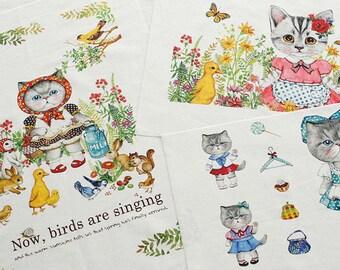 SALE, 3 Sets, Cute CATs Illus II on Linen Blended, 3 cuts in a Set, U3179