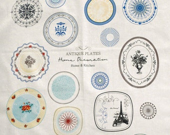 Sale, Antique Style Plates and Embroidery on Linen blended WIDE 140cm, U3180