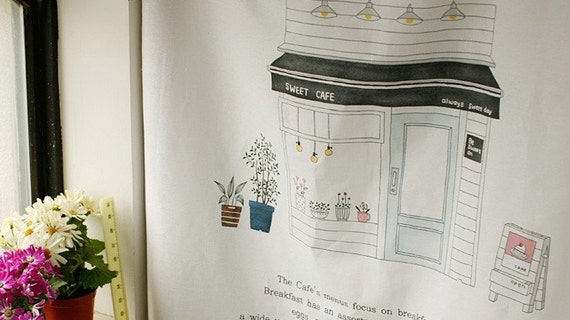 Hand Drawing Illus, Sweet Cafe on White Linen 143cm WIDE, U1353