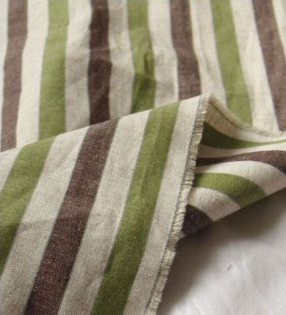 Green n Brown Vintage Stripe Linen blended, U1972