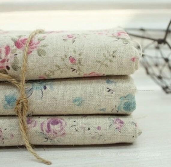 Mini Rose Linen Fat Eighth set of 3, U1144