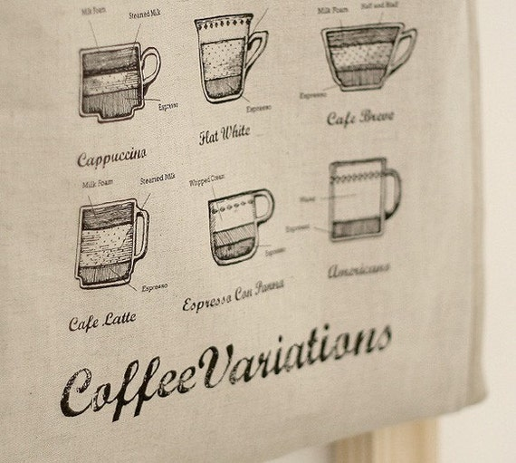 Coffee Map and Cups Illustrated on Linen blended a set of 4 cuts, U1876