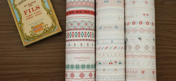 LAST listing, 42 Embroidery Lines on White Linen, U1879