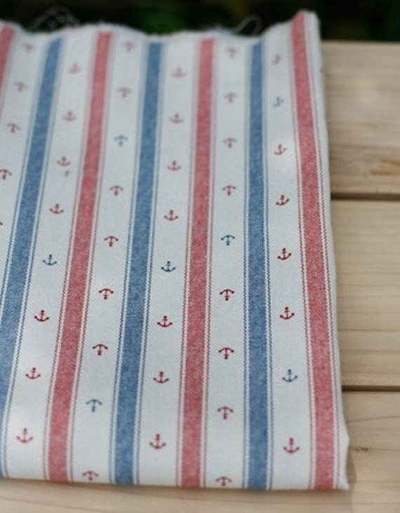 A Yard of Marin and Stripe Blue, Red Linen blended 145cm WIDE, U1572