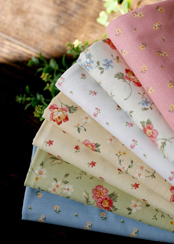 Floral cotton Fat Eighth set of 7, U2419