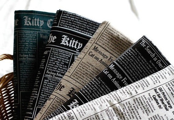 Neat Kitty Newspaper on 5 colors Linen Blended set of 5, U2454