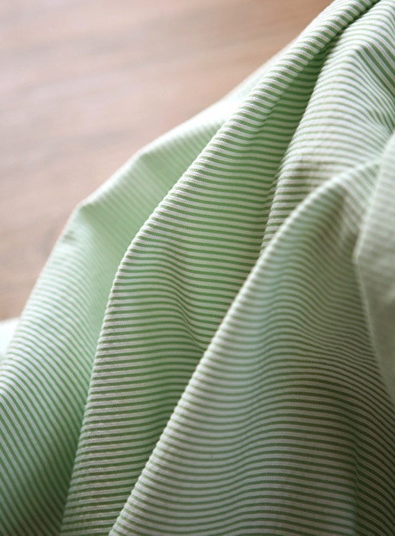 2 Yards, Lovely Water Colored Mint Stripe Cotton WIDE 142cm, U2776