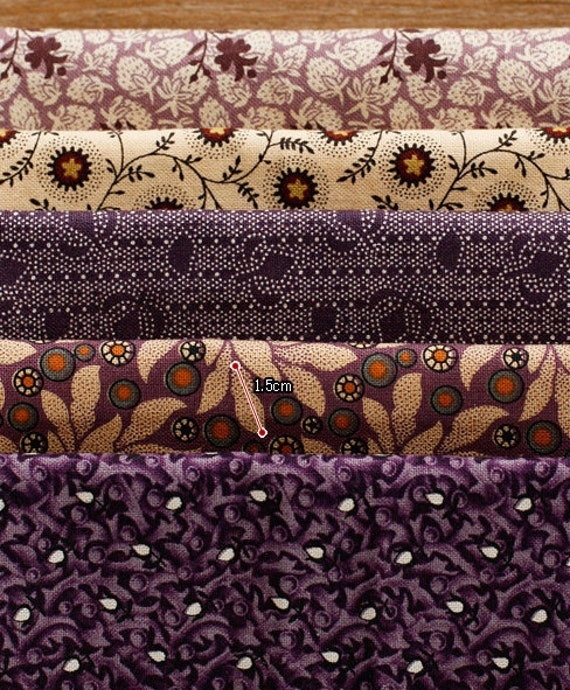 Classic Violet Cotton Fat Eighth set of 5, U2827