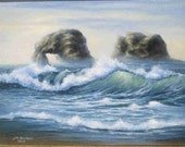 Seascape of Twin Rocks original painting