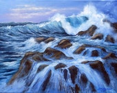 Rocky Surf oil painting