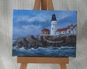 Miniature Portland Head Lighthouse original painting - 2x3