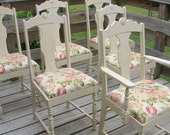 ON SALE 6 French shabby and chic dining chairs furniture by ShabbyHomeFurniture at Etsy