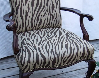 Antique French  walnut open arm chair - zebra upholstery fabric by Shabby Home Furniture at Etsy