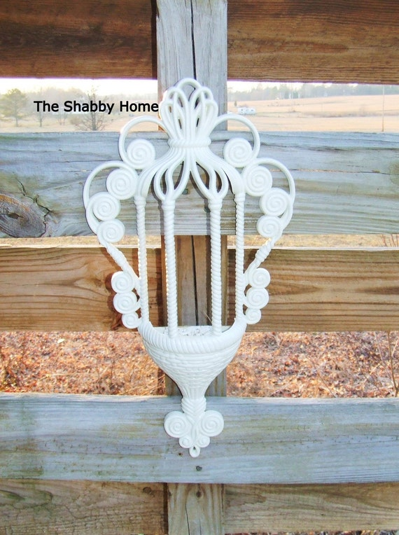Shabby Cottage Chic  Basket Wall Decor  by ShabbyHomeFurniture at Etsy