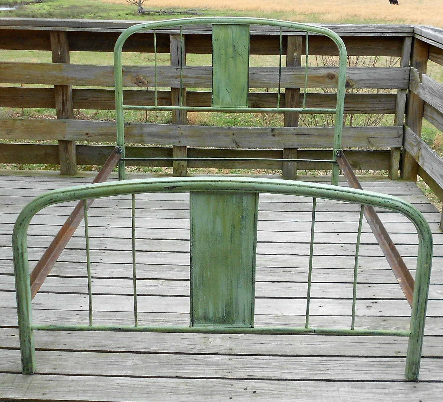 Antique Vintage French Green Metal Bed Full Size Shabby Home
