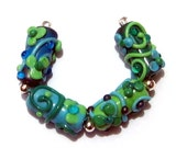 Autumn cleaning - 4 floral Lampwork Beads