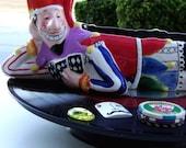 "JOKER'S WILD Ceramic Serving Dish Lazy Susan, Poker Las Vegas Night Vinyl Record & CD Base Hostess Gift Door Prize ""Mud Pie"" Hand Painted"