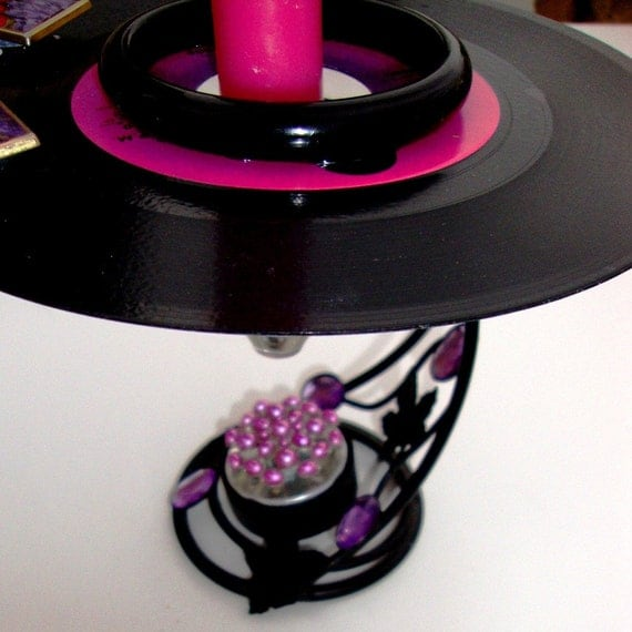 MY GUY Vinyl Record Art w/Votive, Sister Sledge, Cone Shaped Glass Votive & Taper Candleholder, Pink, Purple, Black, Vintage 7 Inch 45