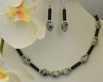 Dalmatian Jasper Necklace and Matching Earrings - SALE