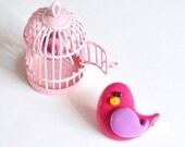 Brooch polymer clay bird lilac hot pink