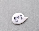 Wedding polymer clay white pin brooch
