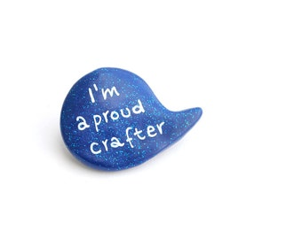 Blue polymer clay craft speech bubble brooch pin