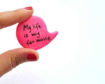 Neon hot pink movie cinema polymer clay brooch