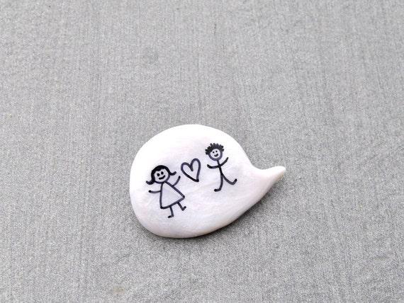 Wedding polymer clay white pin brooch