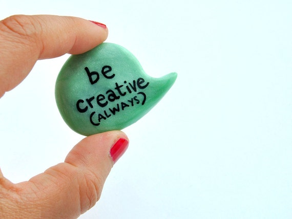 Christmas in July mint green polymer clay brooch fresh speech bubble pin