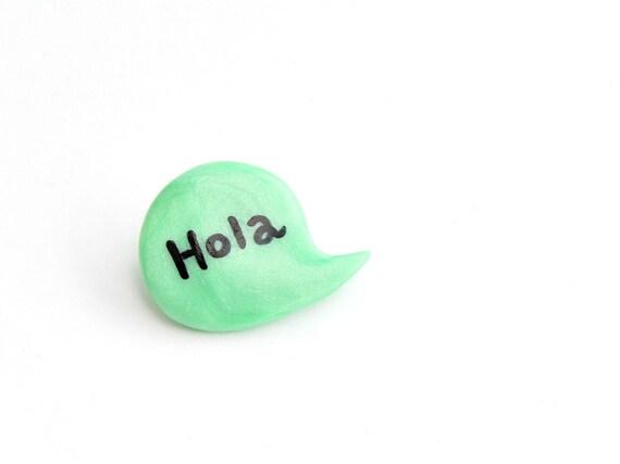 Green mint brooch polymer clay pin