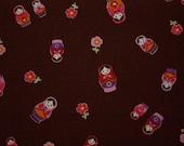 NEW-Kawaii Matryoshka Doll (Brown)-Japanese cotton linen fabric -Fat quarter