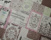 Vintage Newspaper -Japanese cotton linen fabric -(70 cm x 50 cm)